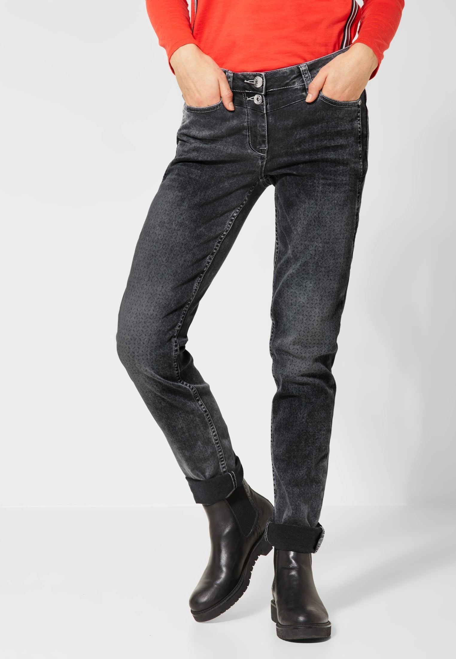 Cecil Mit Muster - Slim Fit Jeans Gray hjaZnjCA
