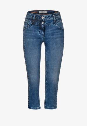 MIT ZICKZACK-GALON - Short en jean - blau