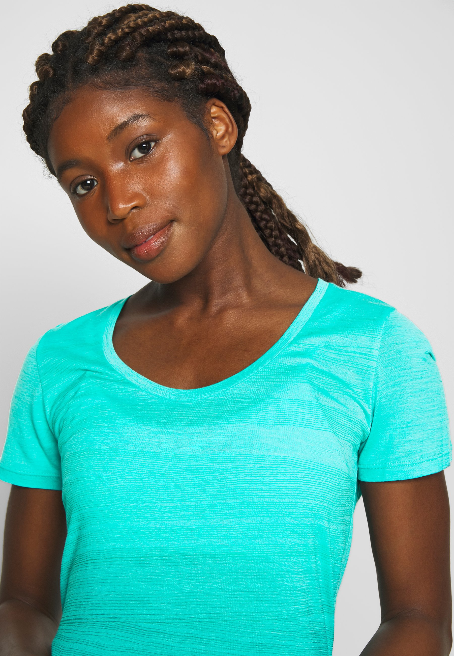 Icebreaker Tech Lite Scoop 1000 Lines - T-shirt Med Print Lagoon