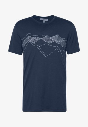 TECH LITE CREWE PEAK PATTERNS - Triko s potiskem - midnight navy