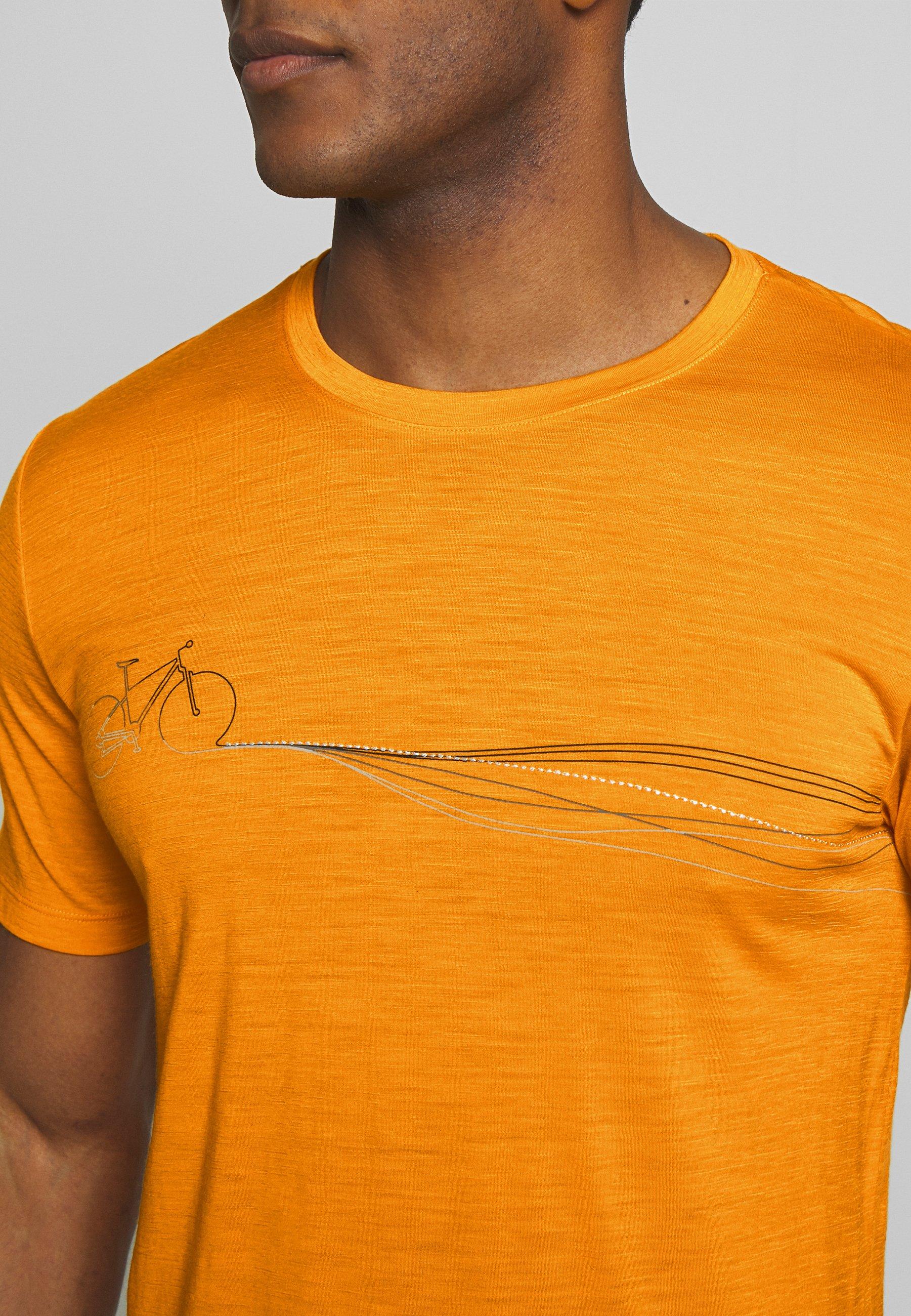 Icebreaker TECH LITE CREWE CADENCE PATHS - T-shirt z nadrukiem - sun