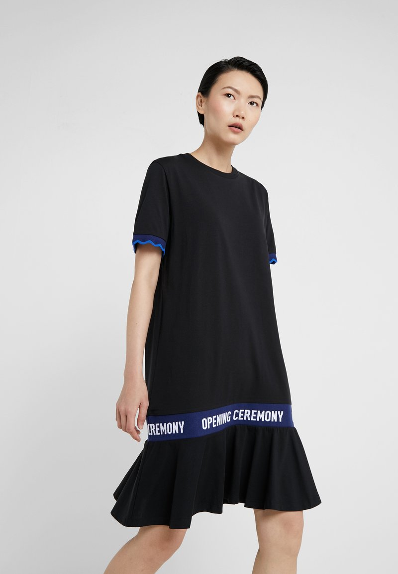 Opening Ceremony - SCALLOP LOGO CROP DRESS - Jerseykleid - black