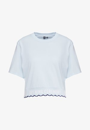 SCALLOP CROPPED TEE - T-shirt z nadrukiem - dust blue