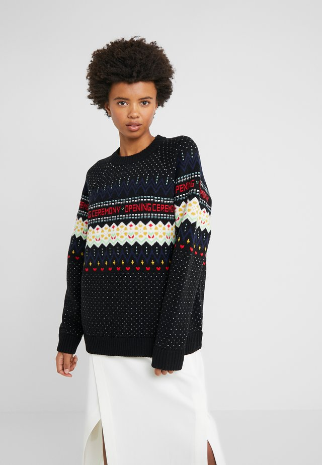 FAIRISLE - Strikpullover /Striktrøjer - black/multi-coloured