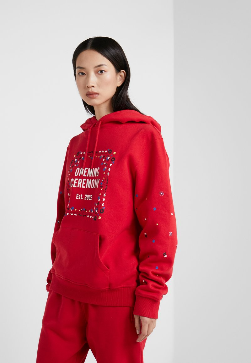 Opening Ceremony - BANDANA BOX HOODIE - Bluza z kapturem - red