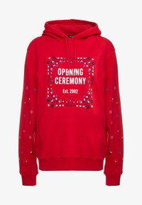 Opening Ceremony - BANDANA BOX HOODIE - Bluza z kapturem - red - 4