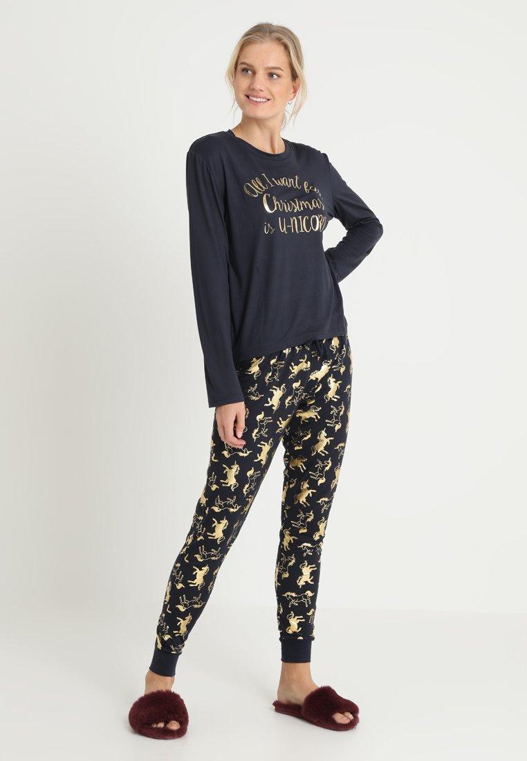 Chelsea Peers - CHRISTMAS UNICORN SET - Pyjama set - black/gold