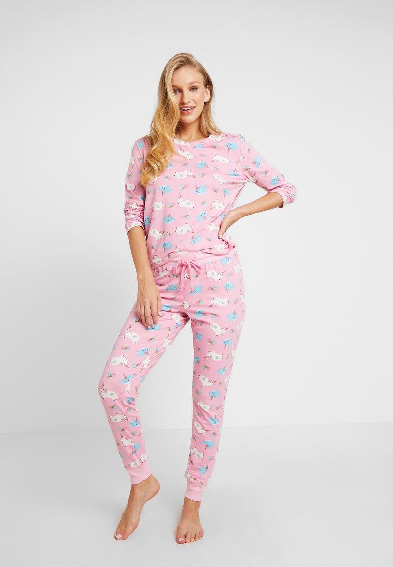 Chelsea Peers - UNICORN & NARWHALE LONG SET - Pyžamová sada - pink