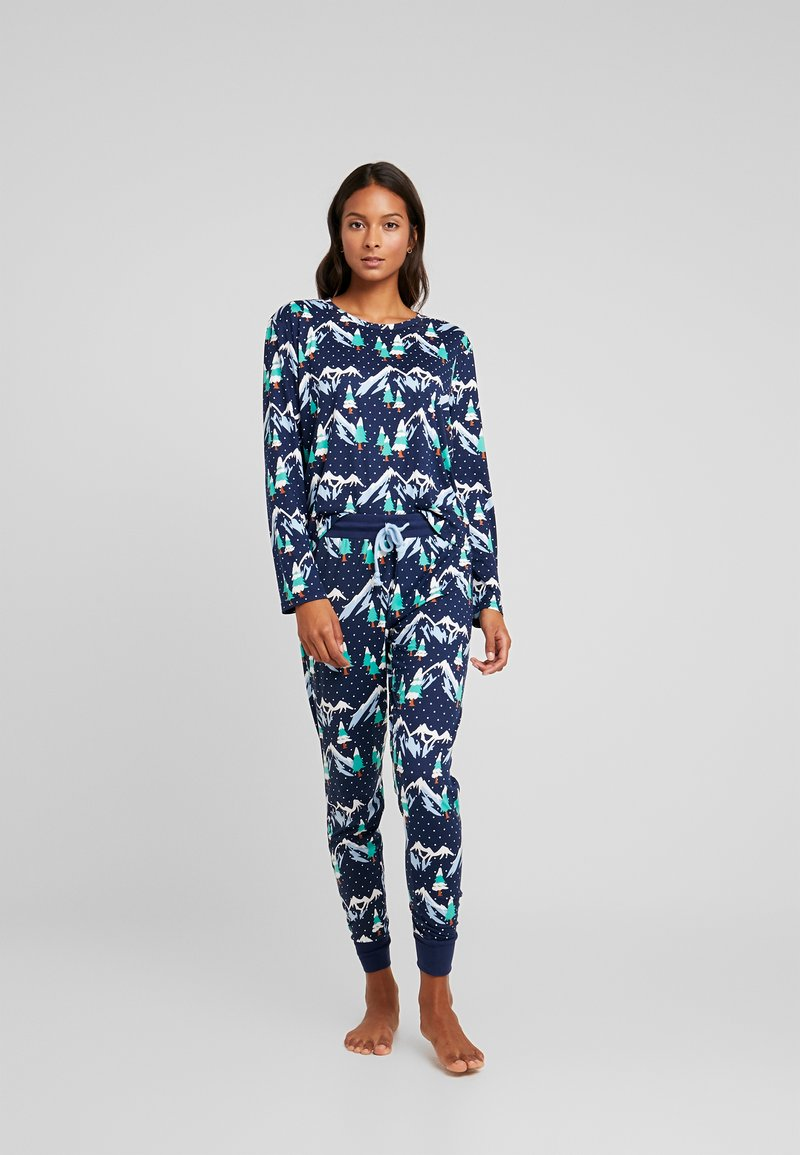 Chelsea Peers - SNOWY MOUNTAIN LONG SET - Pyjama set - navy