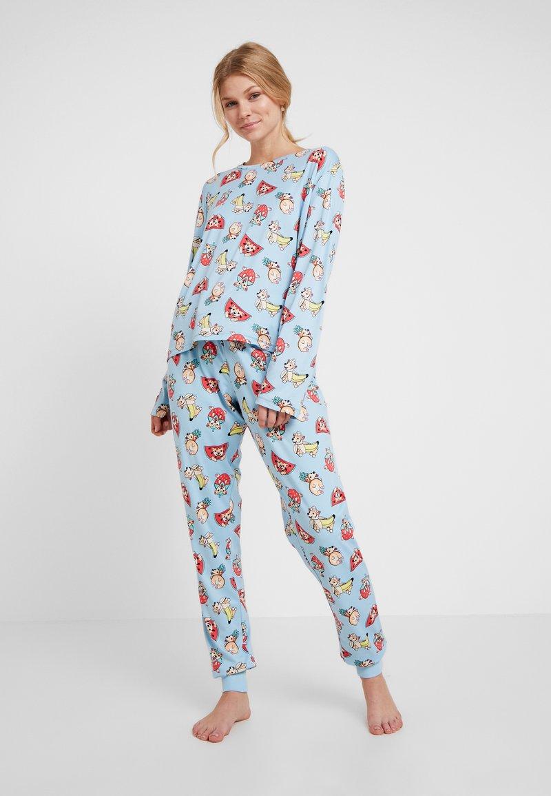 Chelsea Peers - TROPICAL CORGI LONG SET - Pyžamová sada - blue