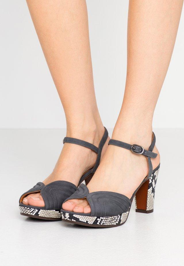 ERIS - High heeled sandals - titanio/natur