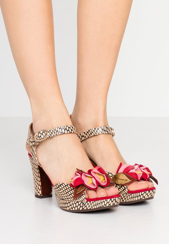 EKUNE - High heeled sandals - natur/rojo