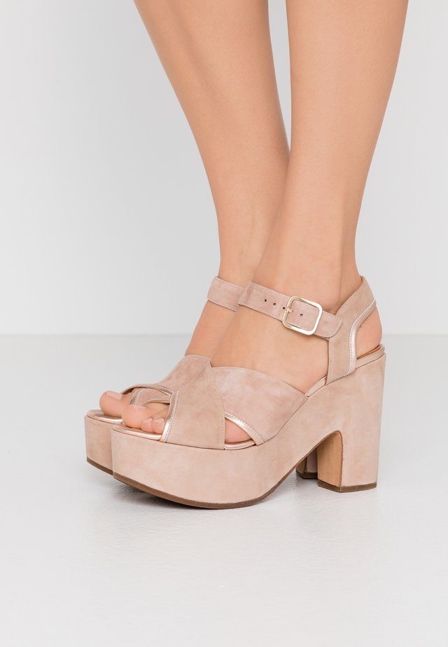 YENDI - High heeled sandals - peach/nude