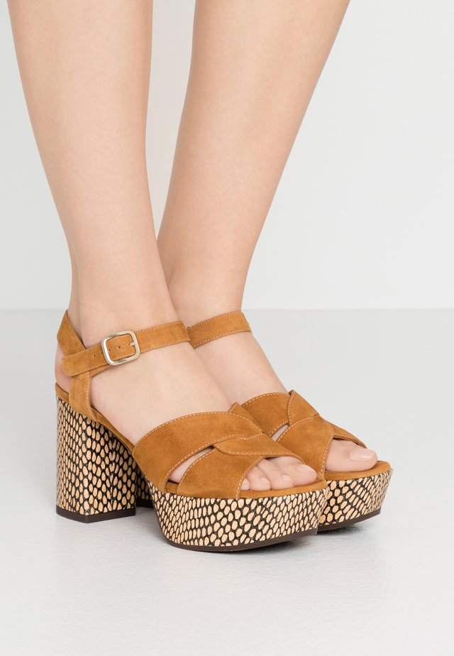 DIBE - High heeled sandals - cognac/natur