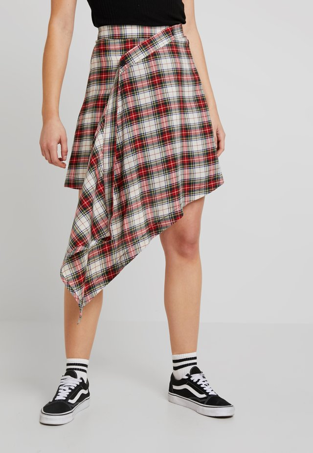 WRAP SKIRT RELAX CHECK - A-Linien-Rock - punkred