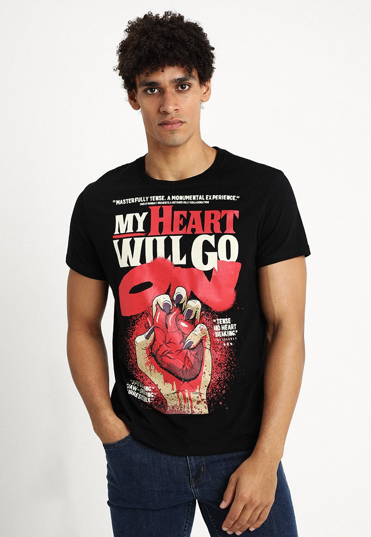 Cheap Monday - STANDARD TEE HEART POSTER - T-shirt con stampa - black