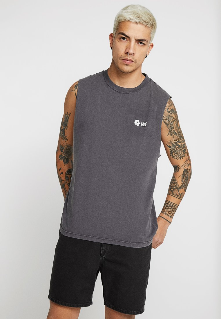 Cheap Monday - SLACK TANK SPEECH LOGO USED WASH - Top - black