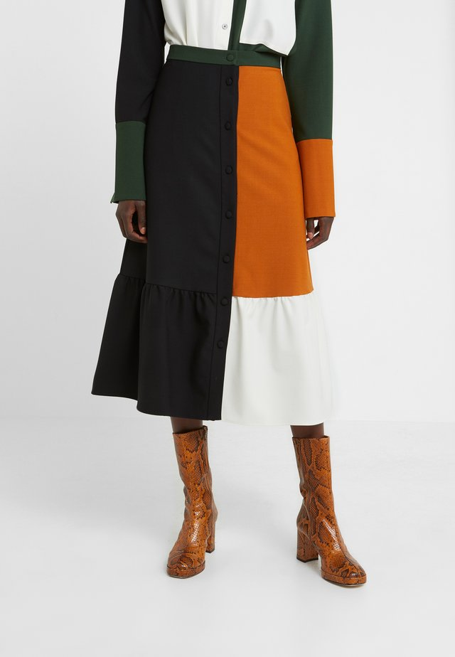 COLOUR BLOCK SKIRT - Gonna a campana - black/multi