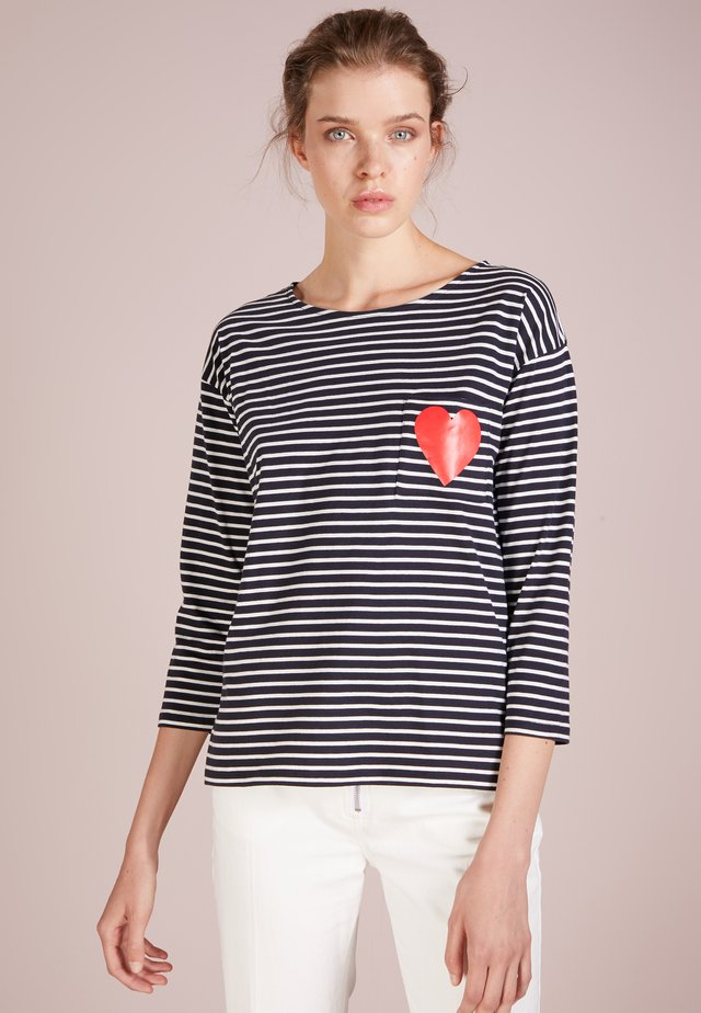 HEART POCKET TEE - Langærmede T-shirts - navy