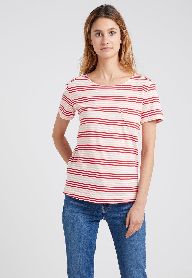 CHINTI & PARKER - HEART TEE - T-Shirt print - ivory/peach/rouge
