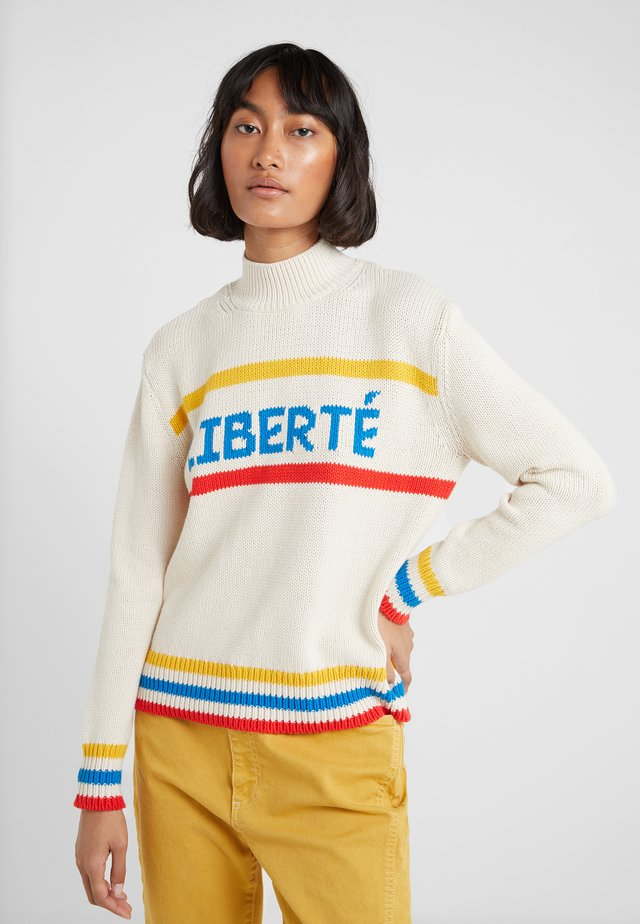 LIBERTE - Stickad tröja - cream/blue/buttercup/red