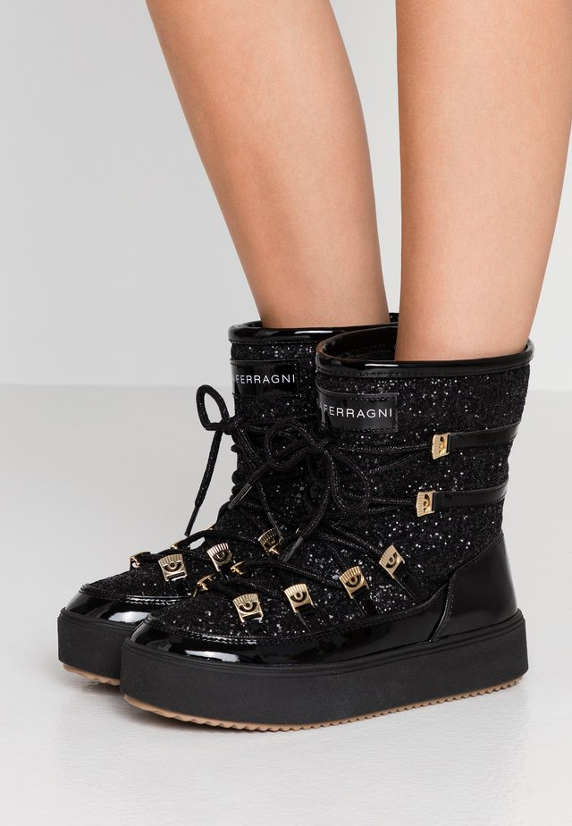 Lace-up ankle boots - black glitter