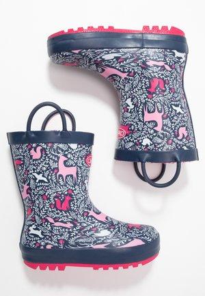 WOODLAND - Bottes en caoutchouc - navy/pink
