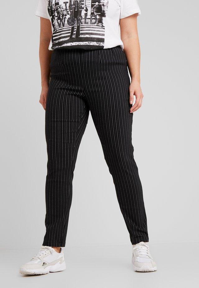 STRIPE SLIM TROUSER - Trousers - black