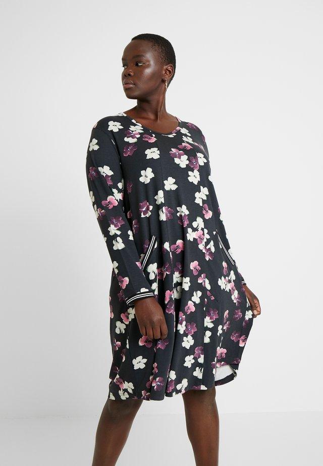 FLORAL PRINT DRESS WITH SPORTS TRIM - Day dress - black