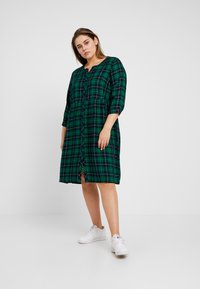 Ciso - CHECKED WAISTED DRESS - Day dress - navy - 0