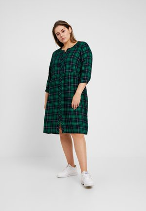 CHECKED WAISTED DRESS - Hverdagskjoler - navy