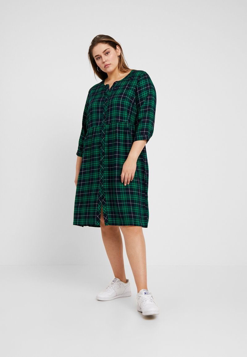 Ciso - CHECKED WAISTED DRESS - Day dress - navy