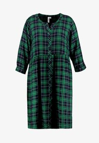 Ciso - CHECKED WAISTED DRESS - Day dress - navy - 4