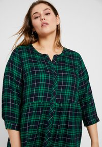 Ciso - CHECKED WAISTED DRESS - Day dress - navy - 3