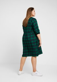 Ciso - CHECKED WAISTED DRESS - Day dress - navy - 2
