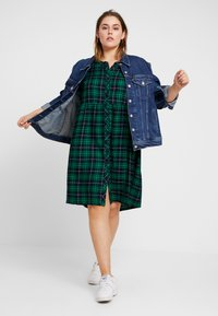 Ciso - CHECKED WAISTED DRESS - Day dress - navy - 1