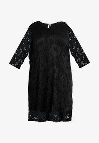 Ciso - V-NECK SHIFT DRESS 3/4 SLEEVE - Freizeitkleid - black - 4