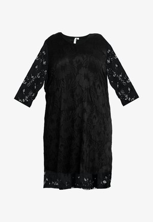 V-NECK SHIFT DRESS 3/4 SLEEVE - Vestido informal - black
