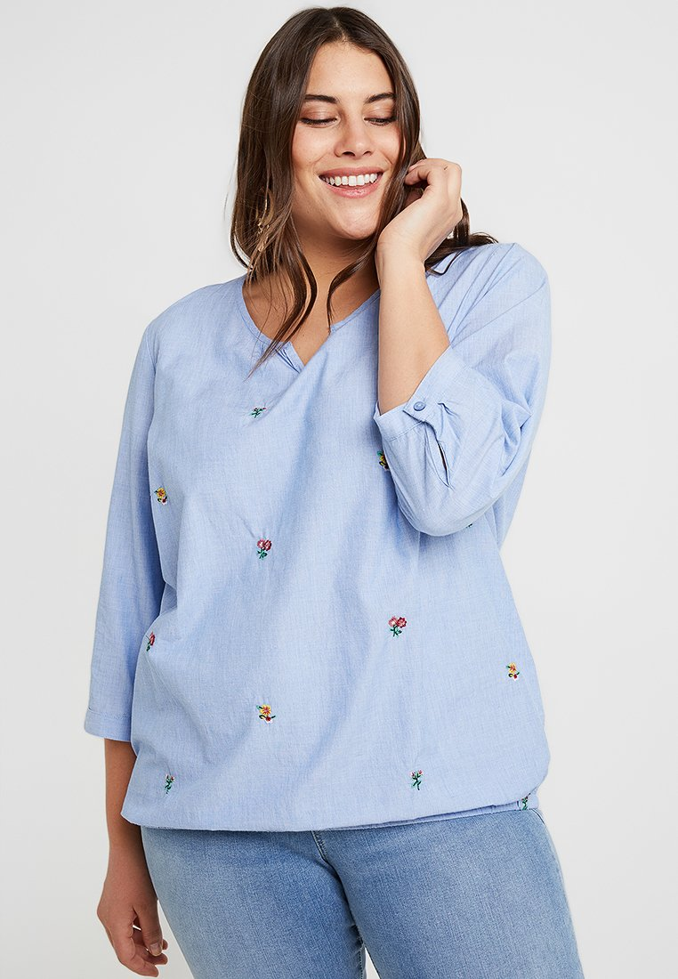 Ciso - BLOUSE ELASTIC IN BOTTOM - Blouse - blue