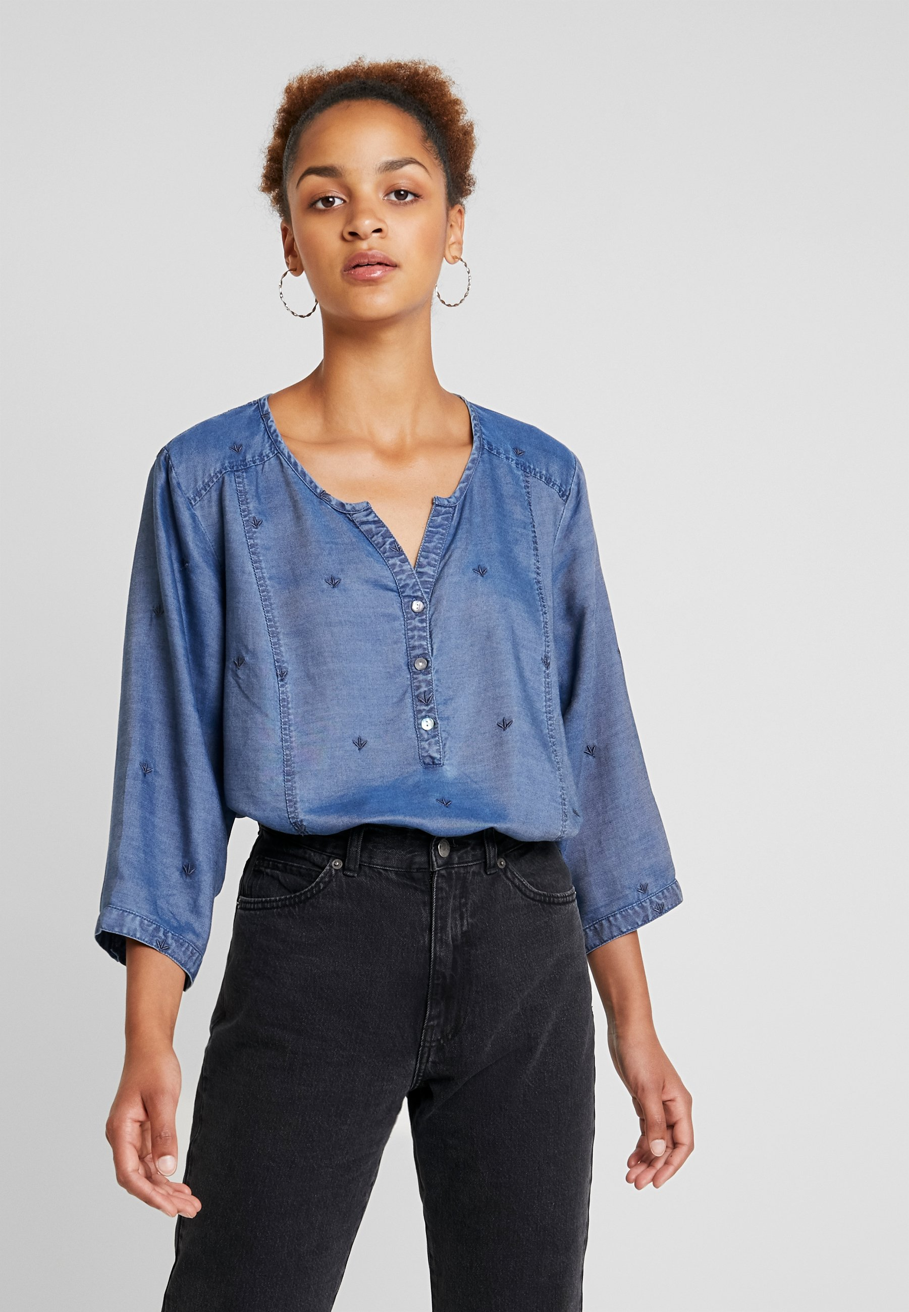 Embroidered Blouse Elasticated Ciso Blue HemDenim tQdhsr