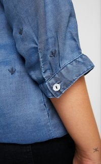 Ciso - EMBROIDERED BLOUSE ELASTICATED HEM - Blouse - denim blue - 5