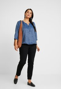 Ciso - EMBROIDERED BLOUSE ELASTICATED HEM - Blouse - denim blue - 1