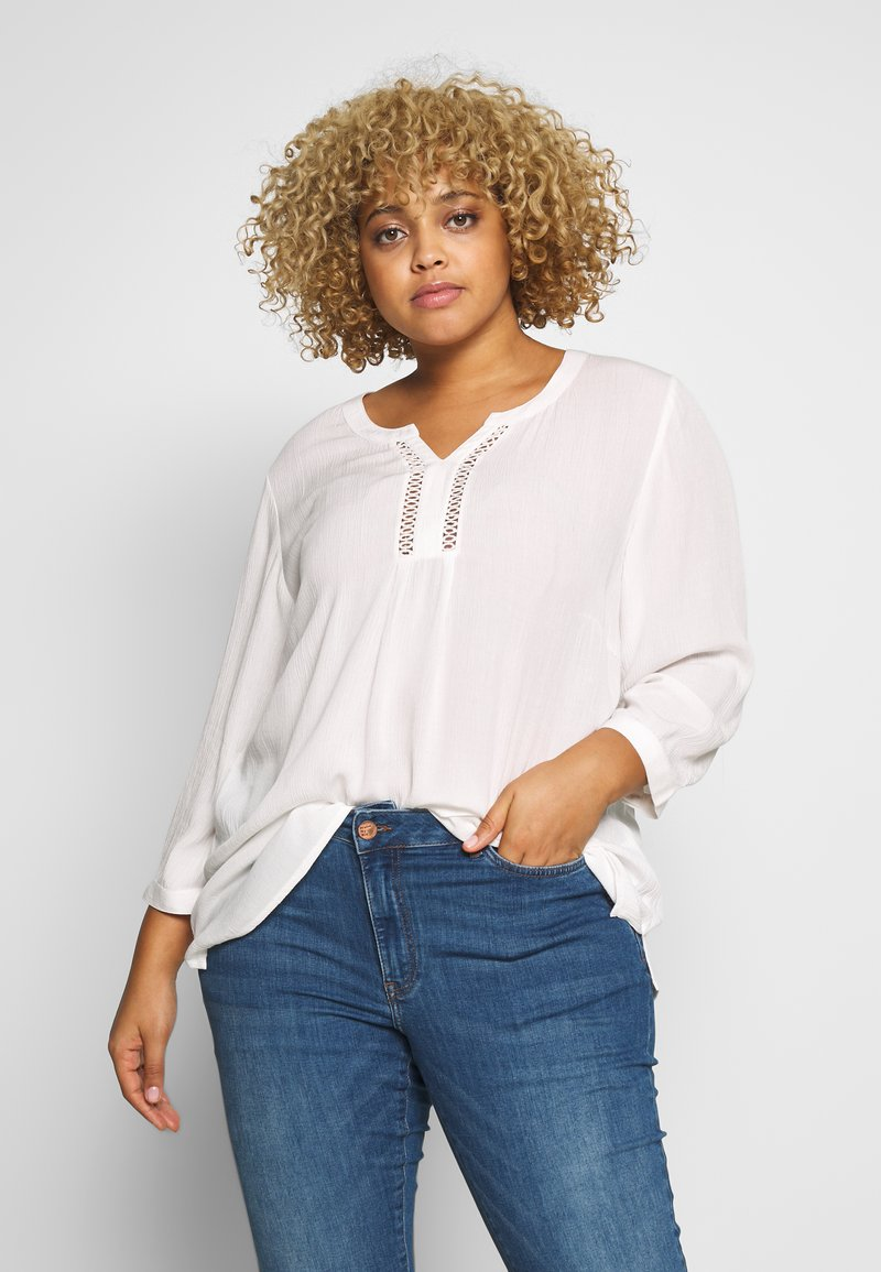 Ciso - BLOUSE WITH CROCHET DETAIL - Blus - offwhite