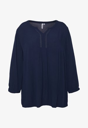 BLOUSE WITH CROCHET DETAIL - Bluser - navy