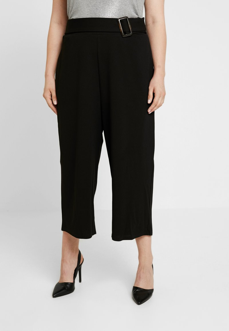 City Chic - PANT WIDE CULLOTE - Kalhoty - black