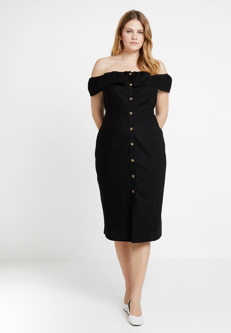 City Chic - BUTTON DOWN BARDOT DRESS - Blousejurk - black