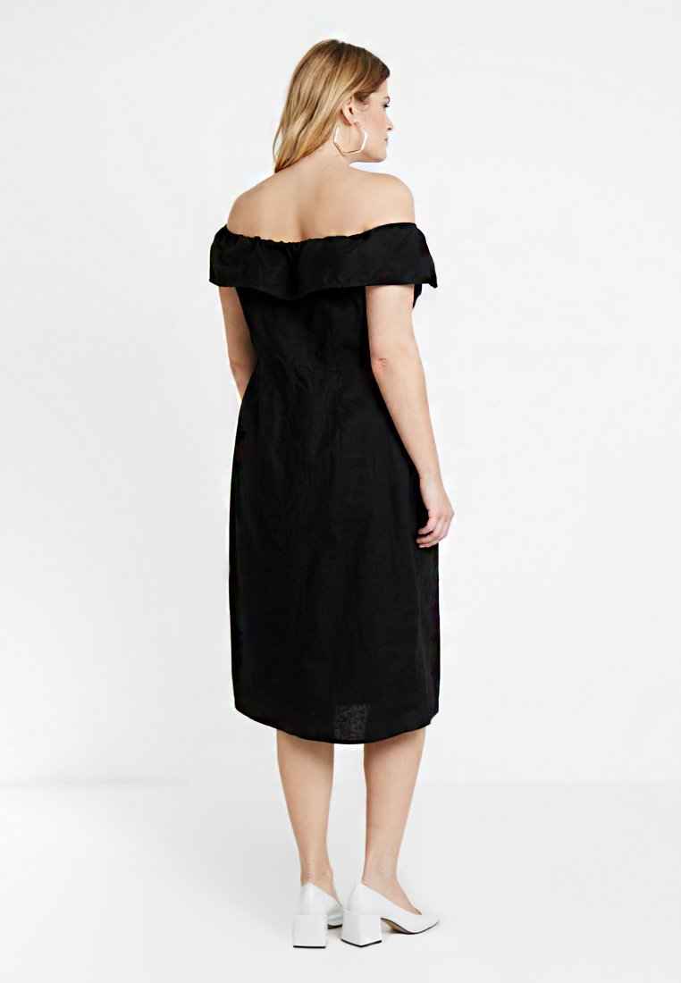 City Chic BUTTON DOWN BARDOT DRESS Robe chemise black