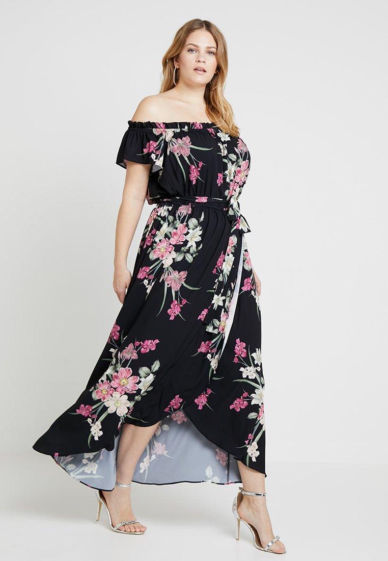City Chic - BARDOT FLORAL PRINTED WRAP DRESS - Maxikleid - black