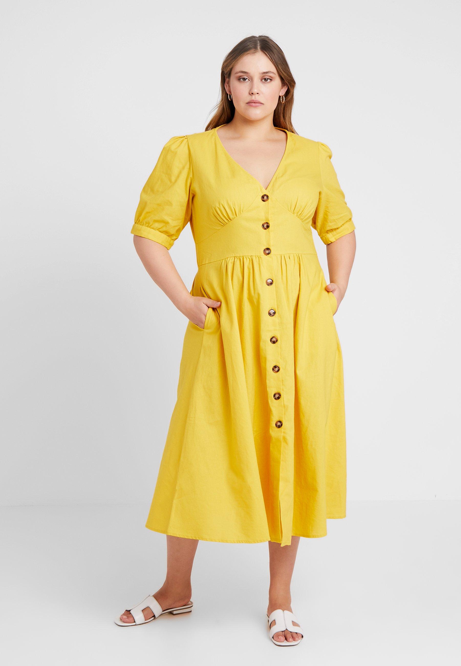 City Chic Robe chemise - jaune sunshine