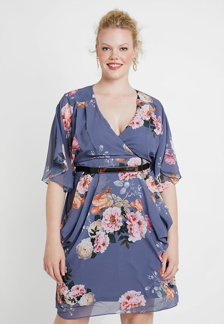 City Chic - DRESS WRAP FLORENCE - Denní šaty - light grey